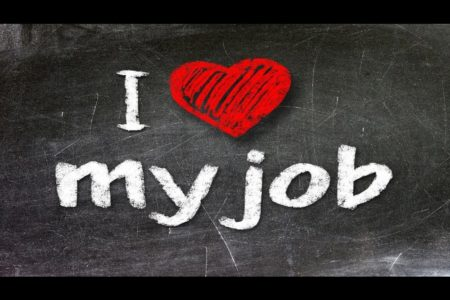 Graphic of blackboard with the words I love my job