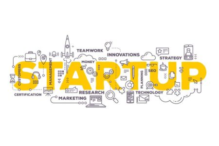 Graphic detailing icons and words around startup businesses